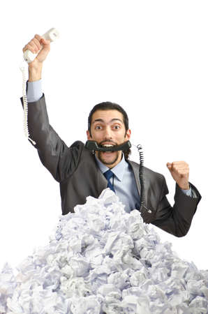 Man with lots of crumpled paper Stock Photo - 12283774