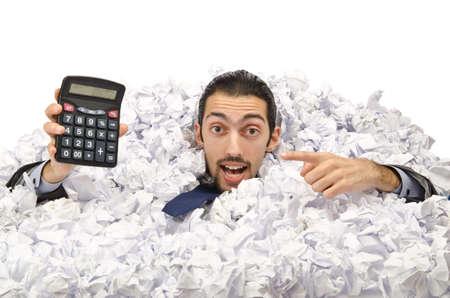 expert comptable: L'homme avec beaucoup de papier froiss�