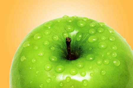 Fresh apple with water droplets photo