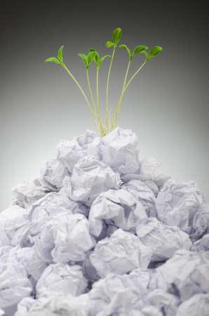 wastepaper basket: Piantine verdi crescono di carta