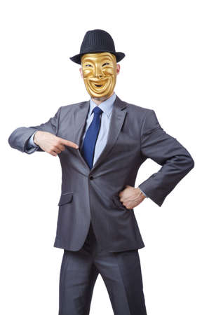 Businessman with mask concealing his identity photo