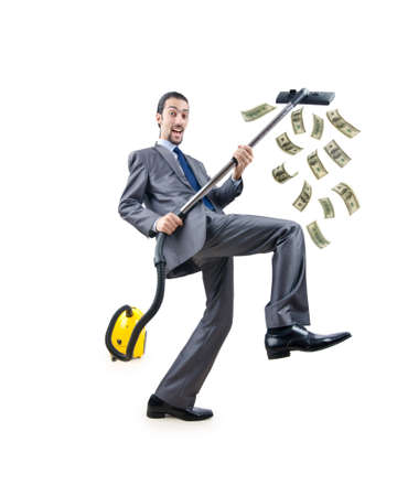 Businessman with vacuum cleaner on white Stock Photo - 12283752