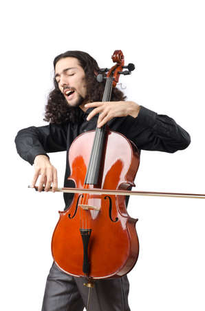 solo violinist: Man playing cello on white