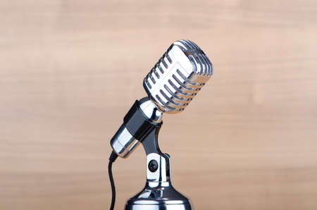 Vintage microphone against the background photo