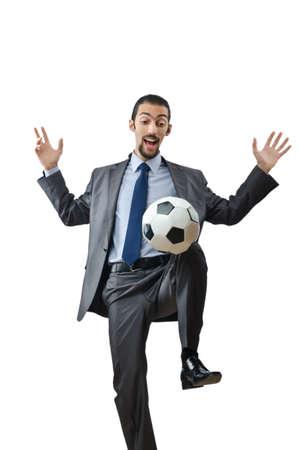 Voetbal concept met zakenman op wit