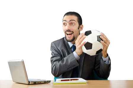 Football concept with businessman on white photo