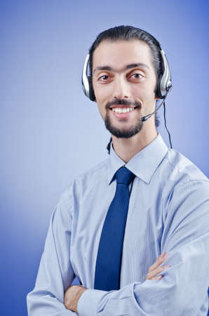 Call center operator with headset Stock Photo - 12283961
