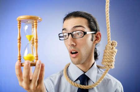 noose: Man with noose around his neck Stock Photo