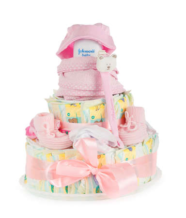 new ages: Cakes made of diapers on white