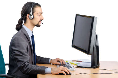 Call center worker on white Stock Photo - 12395257