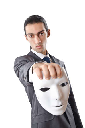 industrial espionage: Industrial espionage concept with masked businessman Stock Photo