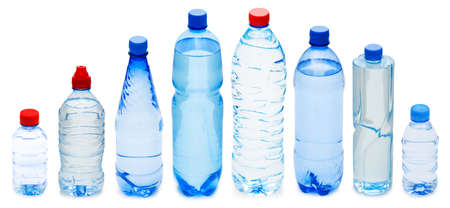 mineral water: Many water bottles isolated on white