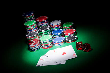 texas hold'em: Casino concept with chips and cards