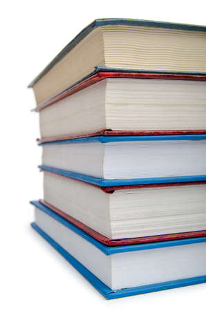 Books in high stack isolated on white Stock Photo - 12347319