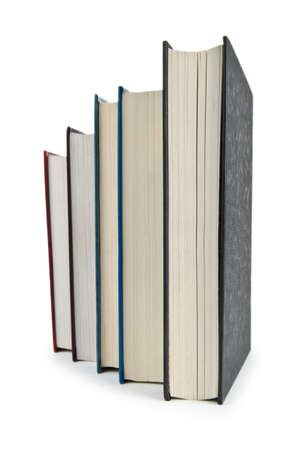 Books in high stack isolated on white Stock Photo - 12347010