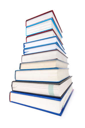 textboks: Books in high stack isolated on white Stock Photo
