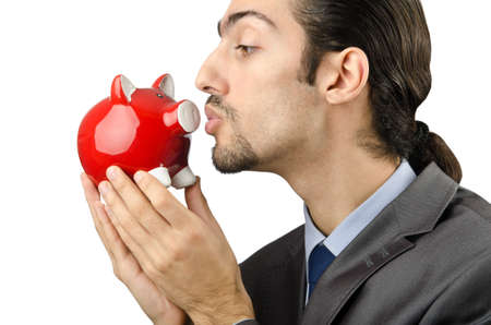 Piggybank and man on white Stock Photo - 12395429