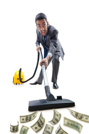 Businessman with vacuum cleaner on white Stock Photo - 12395211