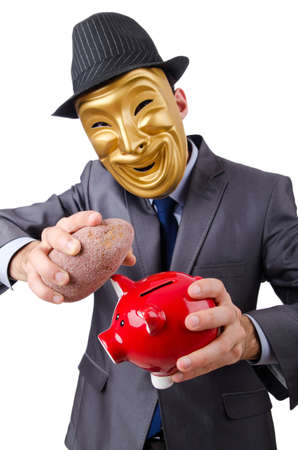 Man with piggybank on white photo