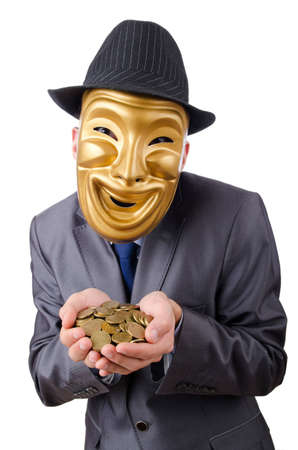 Masked man with coins on white photo