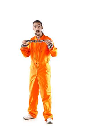 Criminal in orange robe in prison photo
