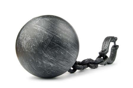 shackled: Ganchos de metal aislados en el blanco