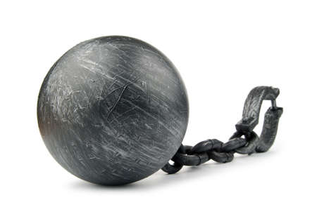 ball and chain: Metal shackles isolated on the white