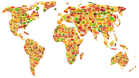 asian pear: World map made of many fruits and vegetables