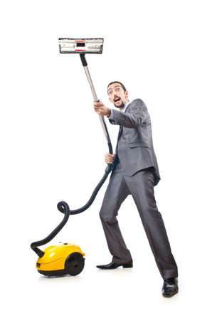 vacuum cleaning: Vacuum cleaning by businessman on white