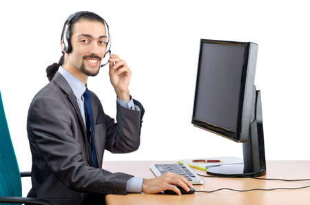 Call center worker on white photo
