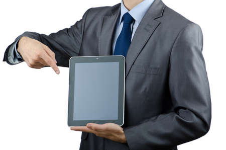 Businessman working on tablet computer photo
