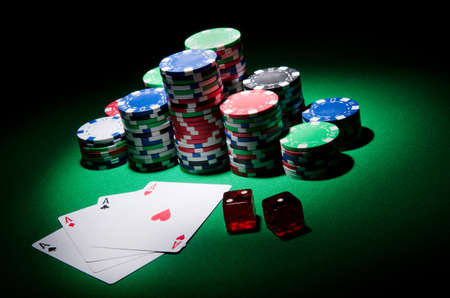 jack of clubs: Casino concept with chips and cards