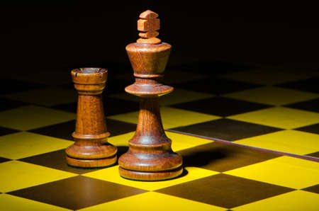 pawn king: Chess concept with various pieces