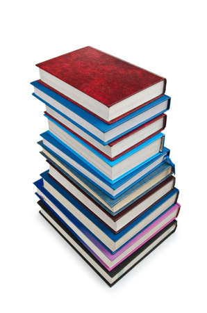 Books in high stack isolated on white Stock Photo - 12349498