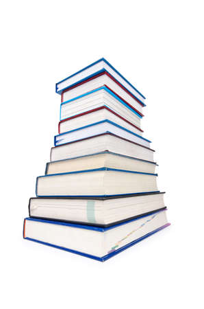 Books in high stack isolated on white Stock Photo - 12349266