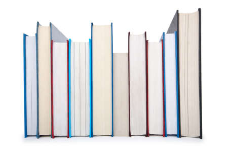 Books in high stack isolated on white Stock Photo - 12349438