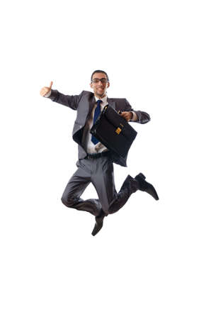 crazy man: Jumping businessman isolated on white