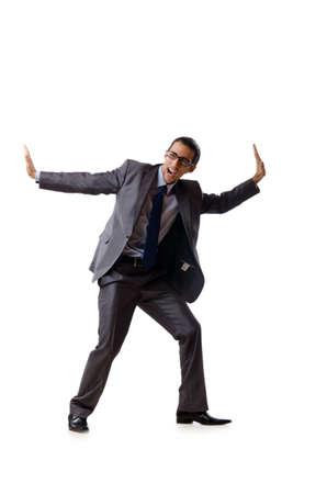 Businessman pushing away virtual problems photo