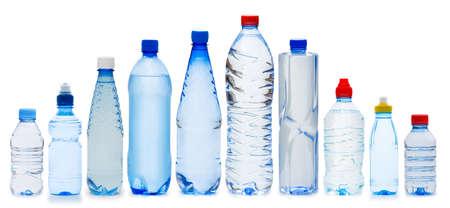 Many water bottles isolated on white photo