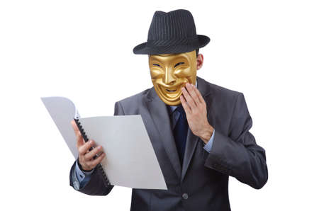 Espionage concept with masked man on white Stock Photo - 12395597