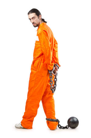 prison ball: Criminal in orange robe in prison
