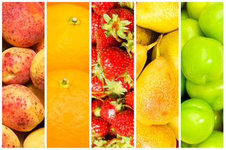 ensaladas de frutas: Conjunto de diversas frutas y hortalizas