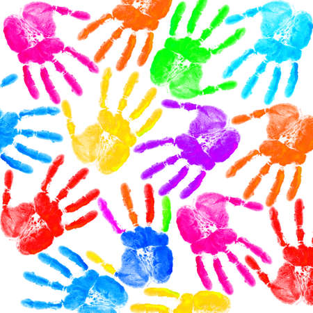 Hand print on the white Stock Photo - 12395749
