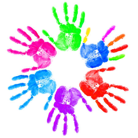 Hand print on the white Stock Photo - 12395658