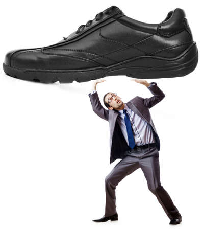 Woman domination concept with shoes and man Stock Photo - 12472566