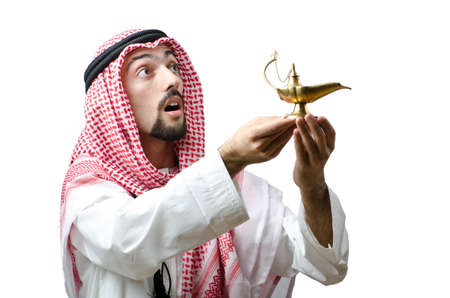 Young arab with lamp photo