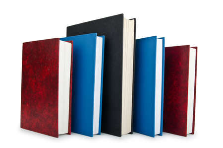 Books in high stack isolated on white Stock Photo - 12503235