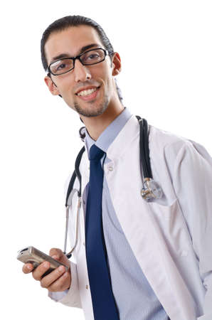Male doctor with stethoscope isolated photo
