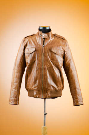 Brown leather jacket in fashion concept photo