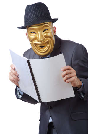 Espionage concept with masked man on white Stock Photo - 12522391